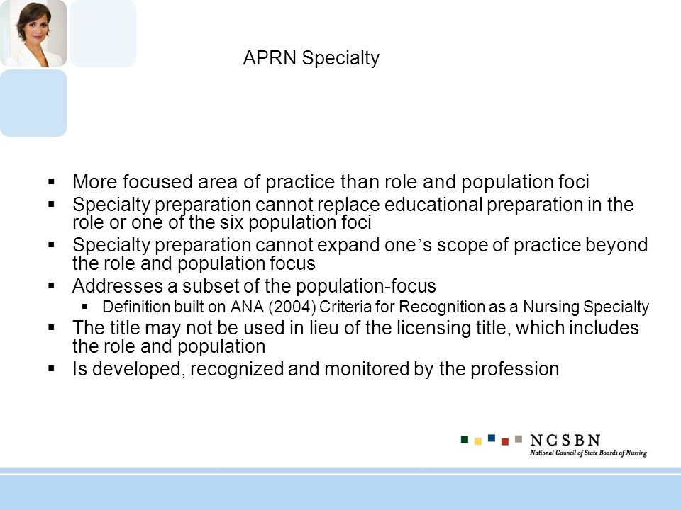 More focused area of practice than role and population foci