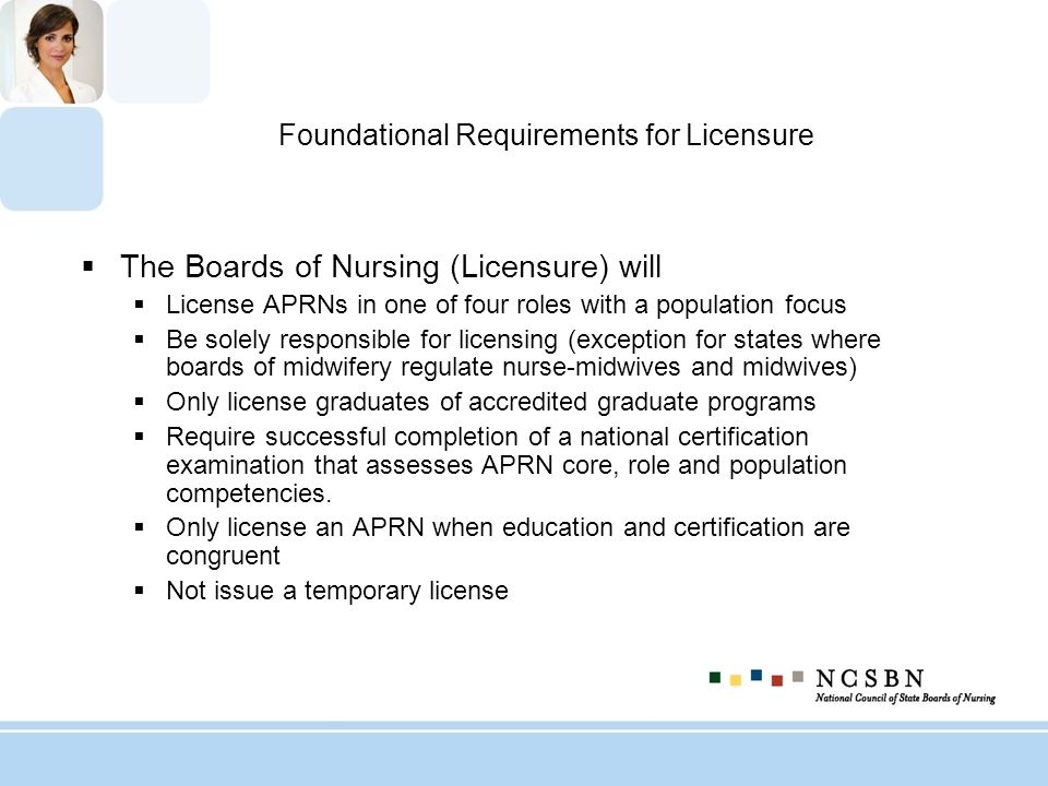 Foundational Requirements for Licensure
