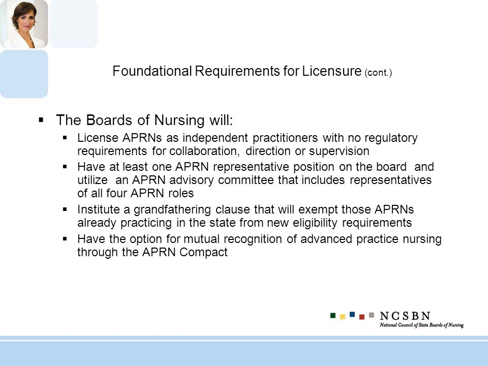 Foundational Requirements for Licensure (cont.)