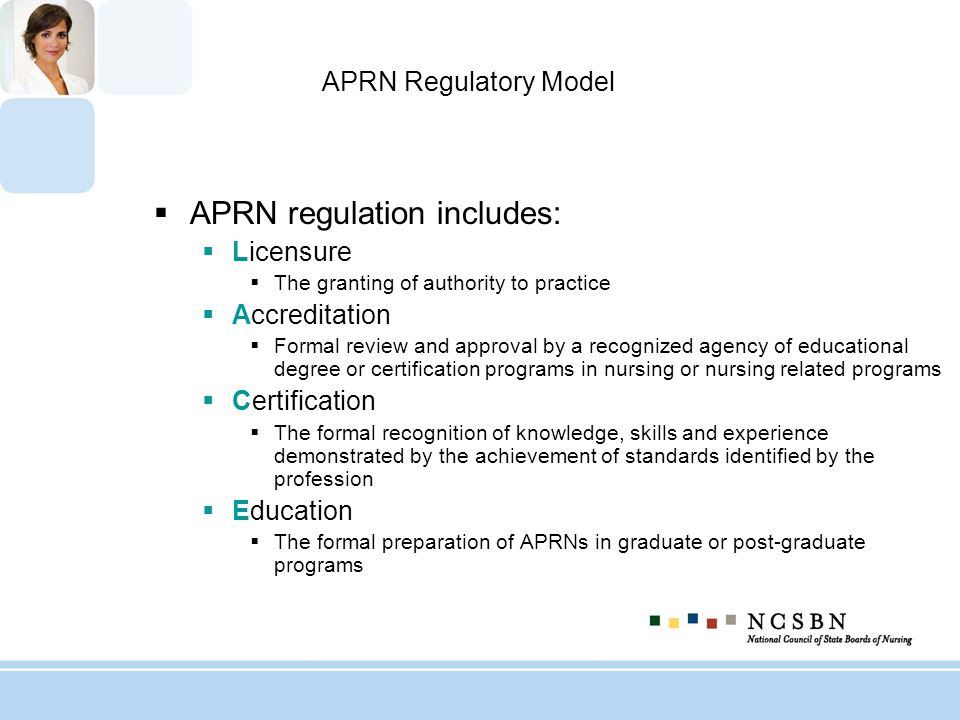 APRN regulation includes: