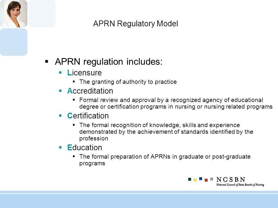 APRN regulation includes: