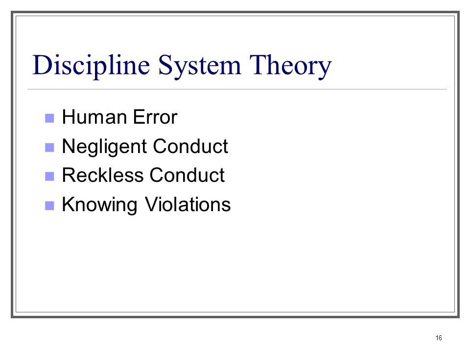 Discipline System Theory