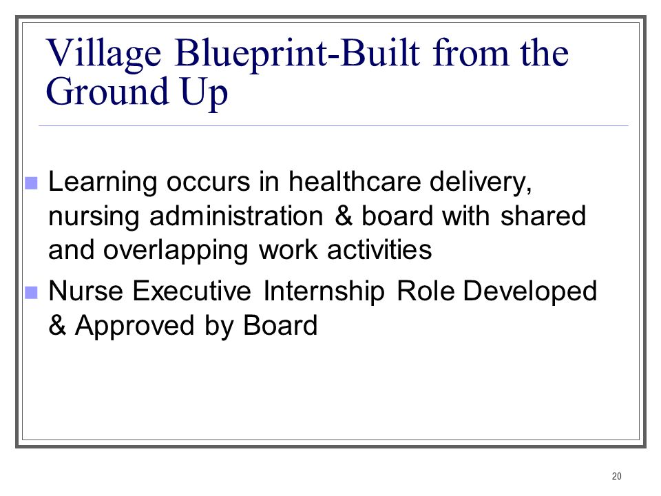 Village Blueprint-Built from the Ground Up