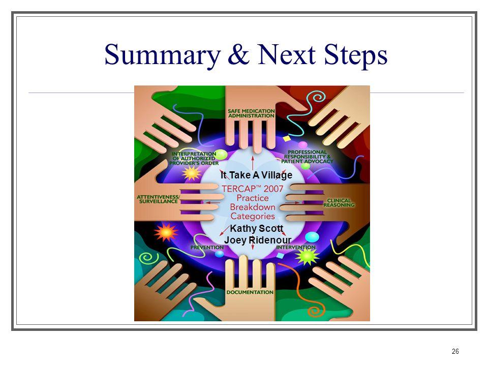 Summary & Next Steps It Take A Village Kathy Scott Joey Ridenour 26