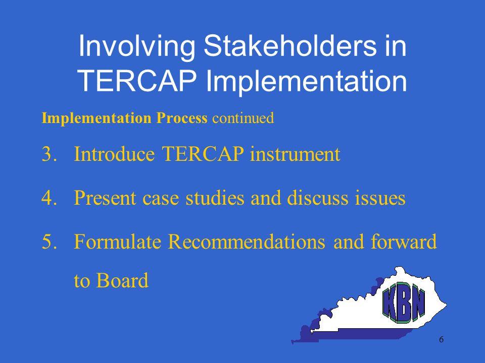 Involving Stakeholders in TERCAP Implementation