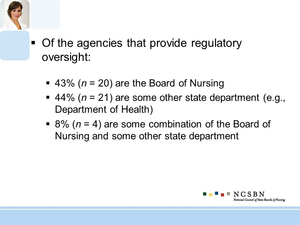 Of the agencies that provide regulatory oversight: