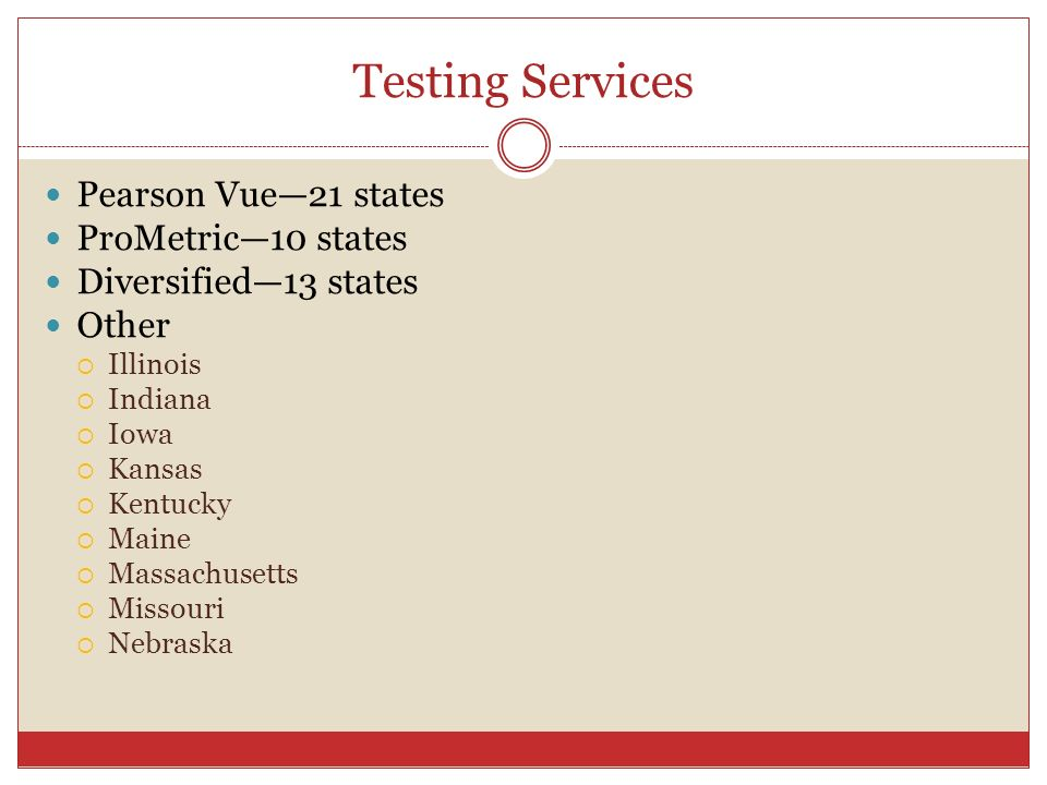 Testing Services Pearson Vue—21 states ProMetric—10 states