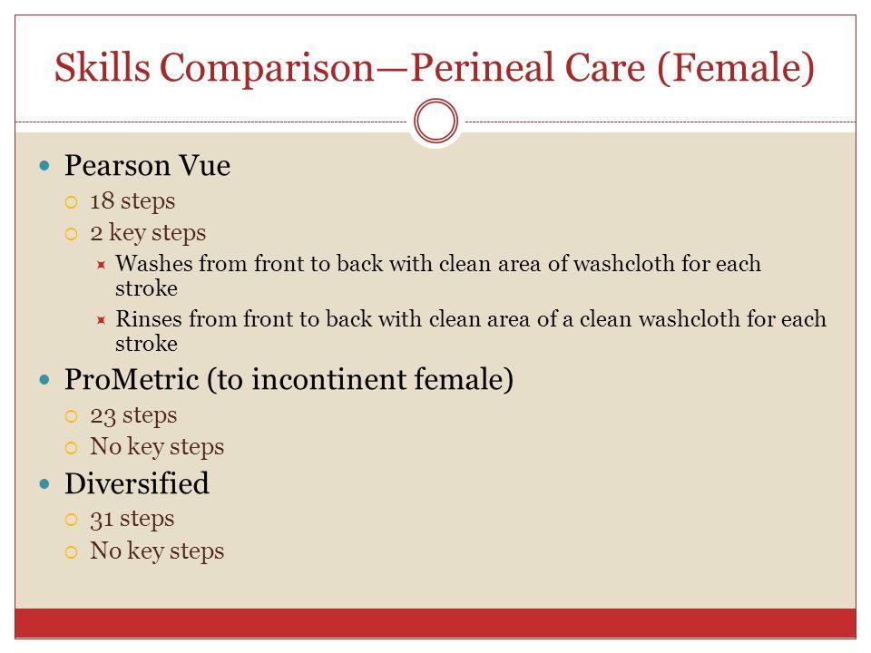 Skills Comparison—Perineal Care (Female)
