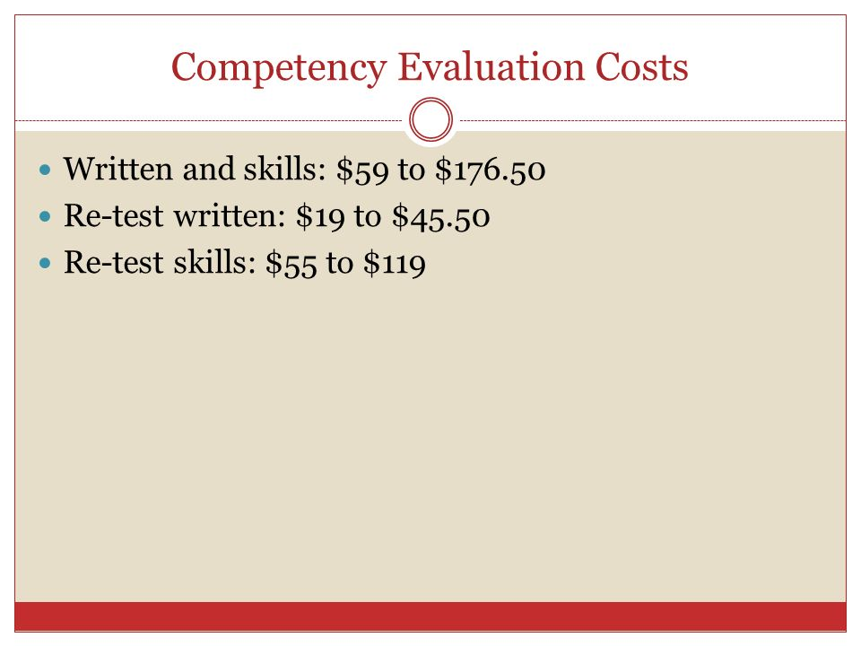 Competency Evaluation Costs