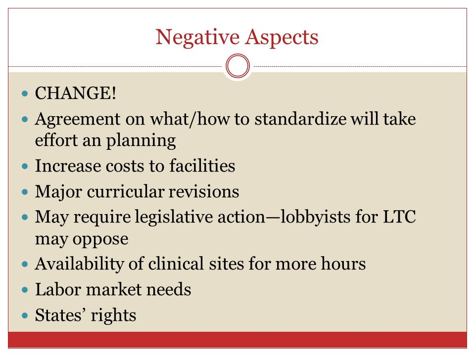 Negative Aspects CHANGE!