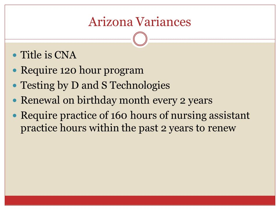 Arizona Variances Title is CNA Require 120 hour program