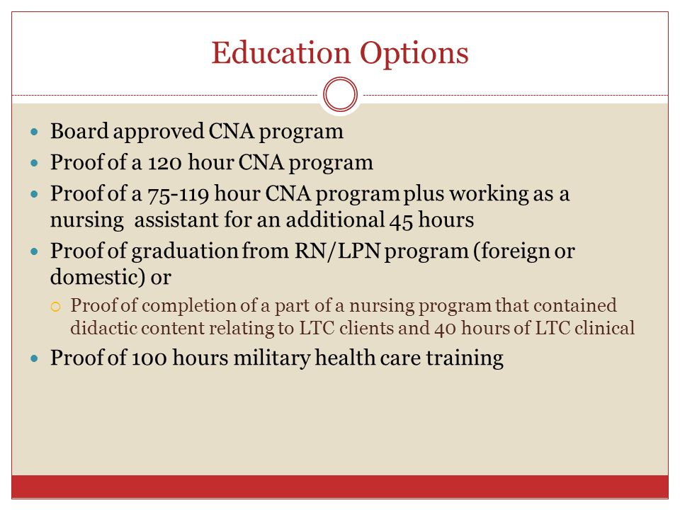 Education Options Board approved CNA program