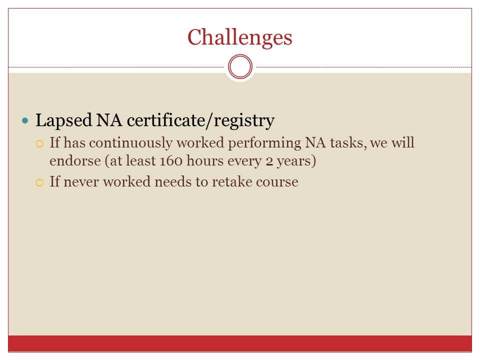 Challenges Lapsed NA certificate/registry