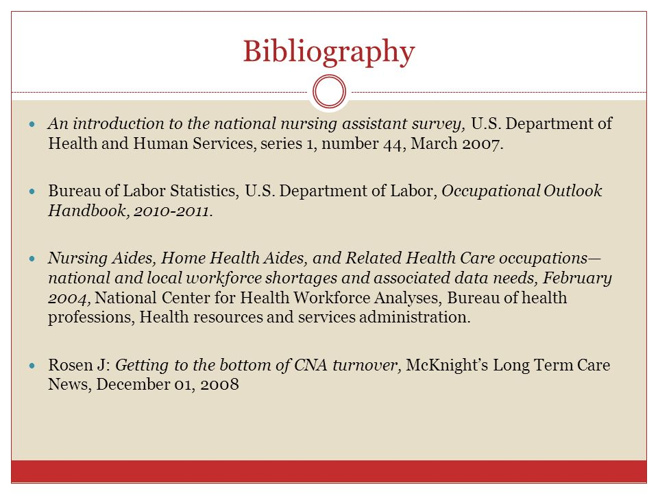 Bibliography An introduction to the national nursing assistant survey, U.S. Department of Health and Human Services, series 1, number 44, March 2007.