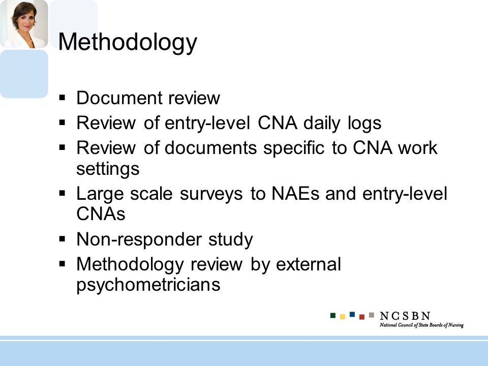 Methodology Document review Review of entry-level CNA daily logs