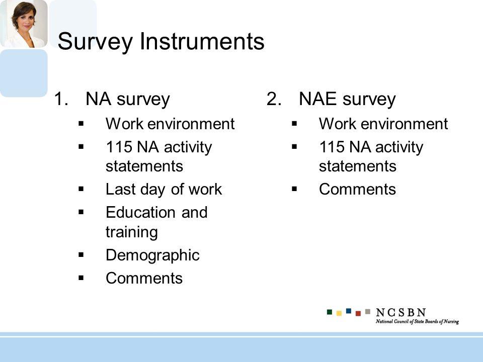 Survey Instruments NA survey NAE survey Work environment