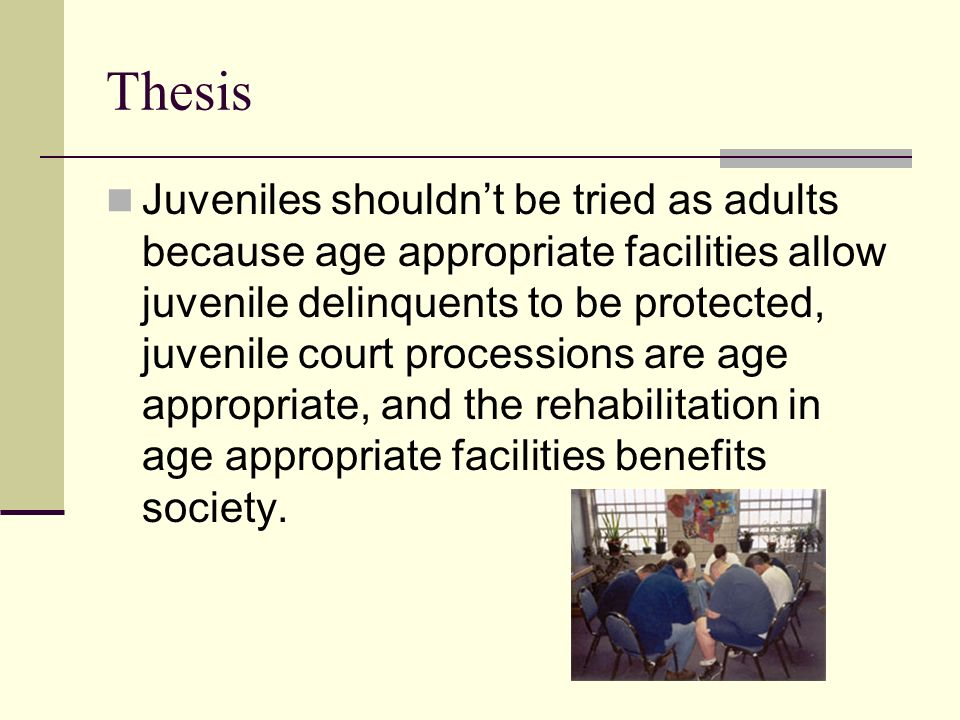 kids should not be tried as adults essay Criminology term papers (paper 12472) on should kids be tried as adults : should juveniles be tried as adults violent crimes are.