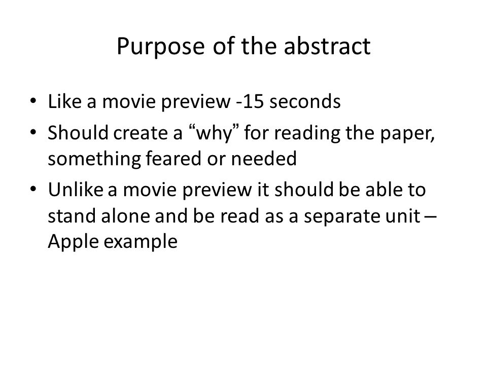 how to write an abstract for a biology research paper Research paper or entire thesis be the last thing that you write microsoft word - writing an abstract update 270912.