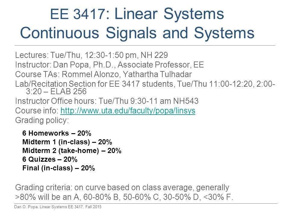 EE 3417 Linear Systems Continuous Signals And Systems