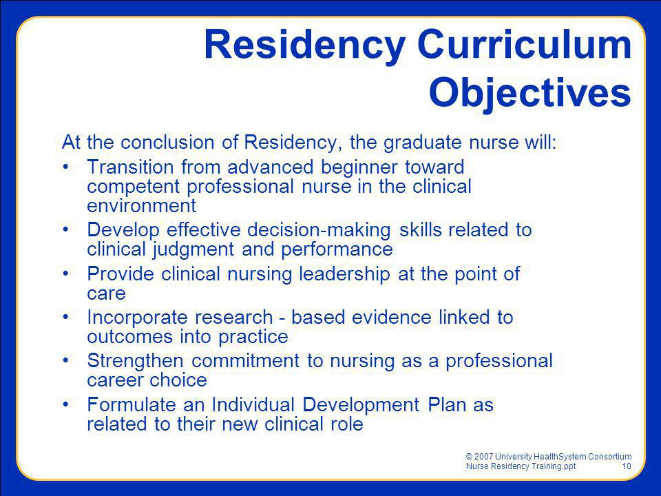 Residency Curriculum Objectives