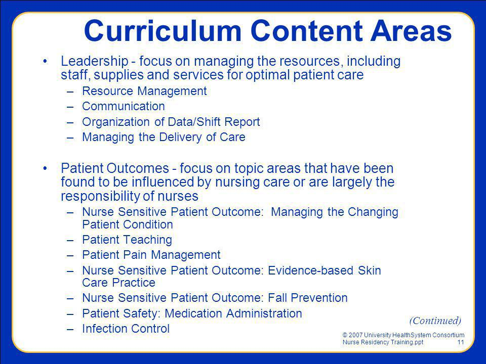 Curriculum Content Areas