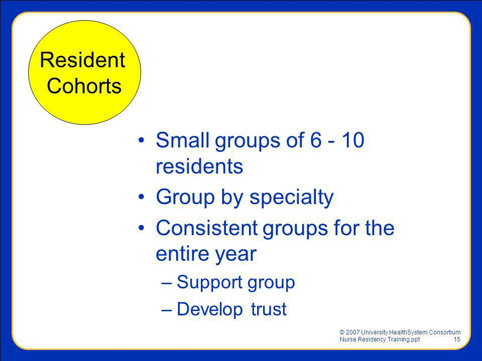 Small groups of 6 - 10 residents Group by specialty