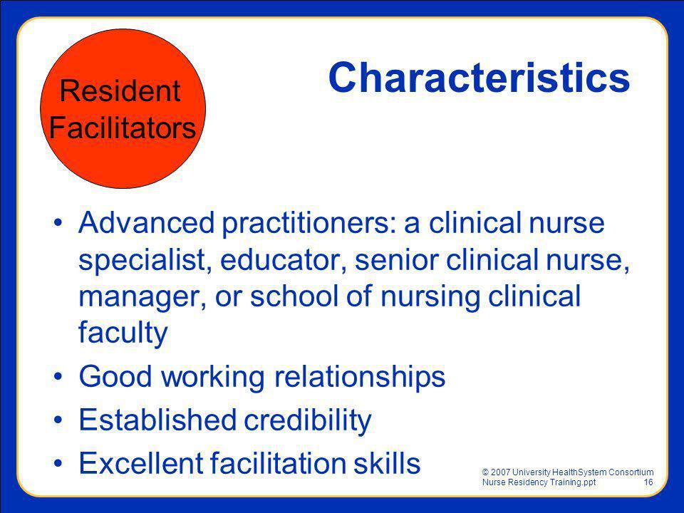 Characteristics Resident Facilitators