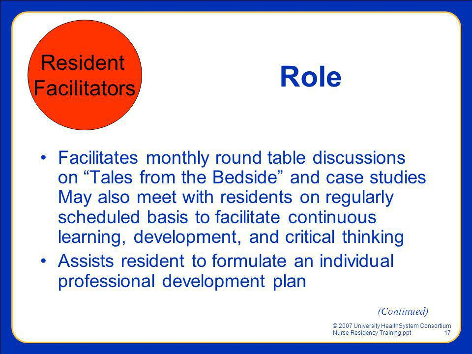 Role Resident Facilitators