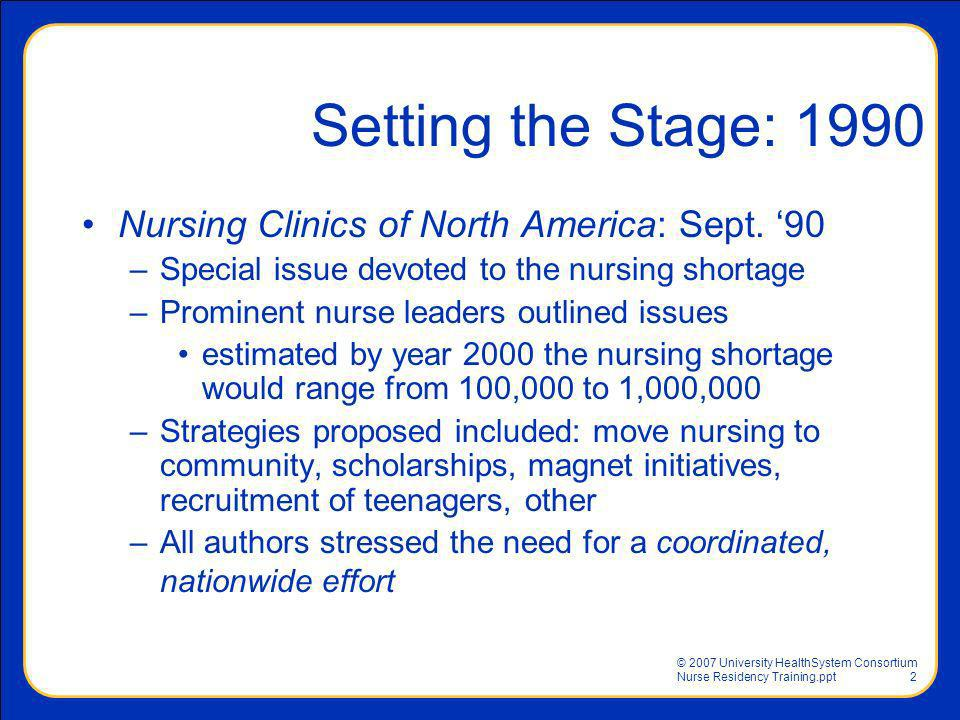 Setting the Stage: 1990 Nursing Clinics of North America: Sept. '90