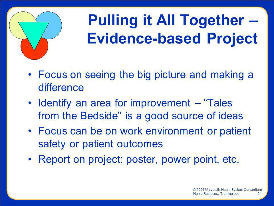 Pulling it All Together – Evidence-based Project