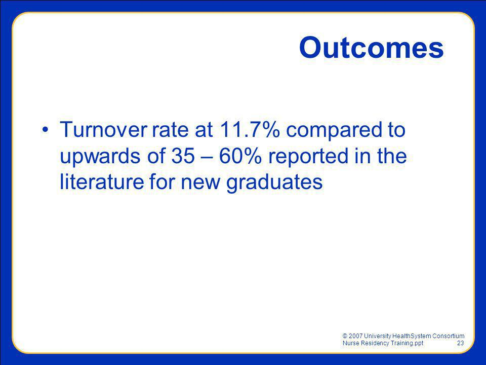 Outcomes Turnover rate at 11.7% compared to upwards of 35 – 60% reported in the literature for new graduates.