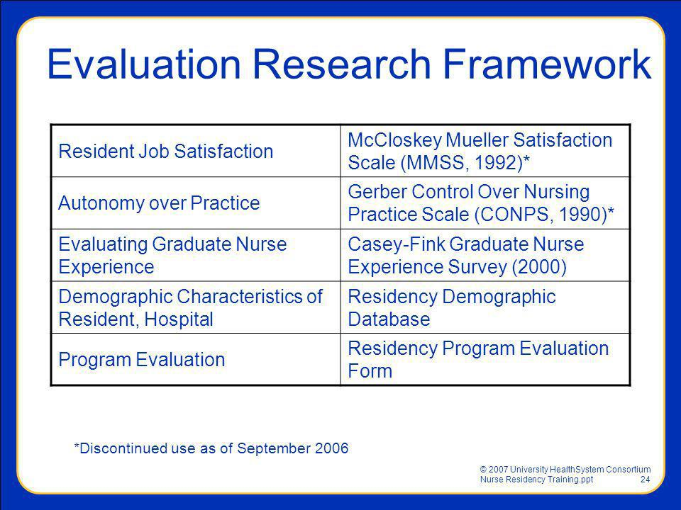 Evaluation Research Framework