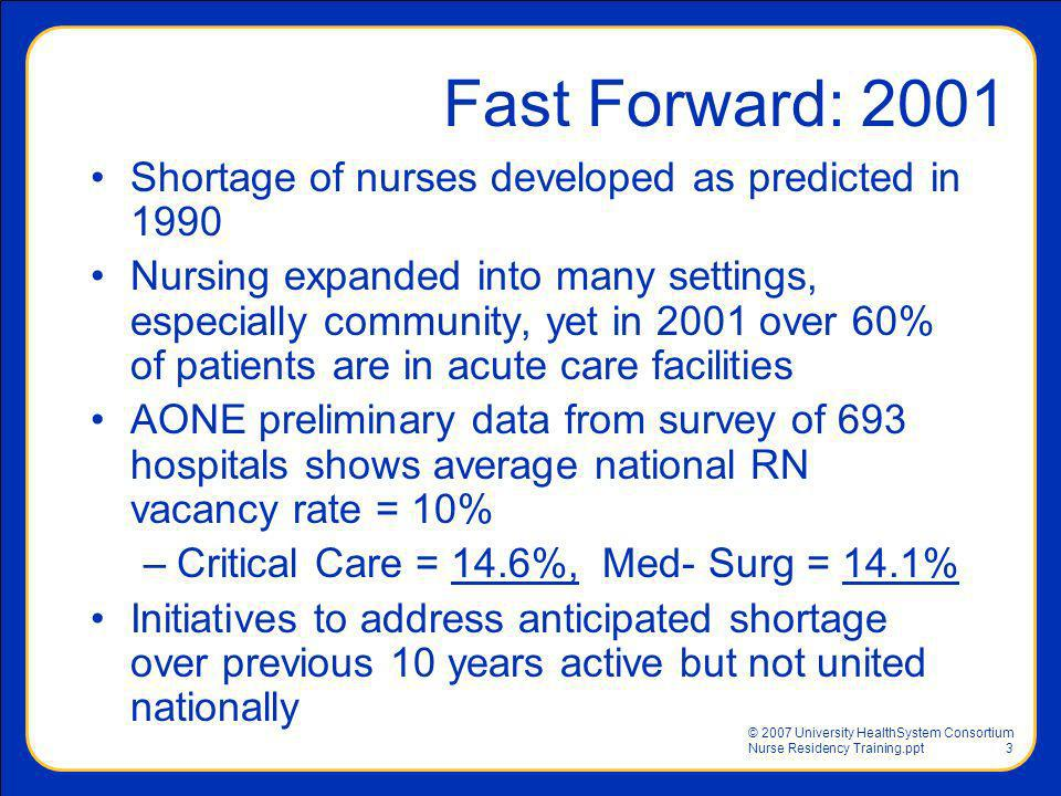 Fast Forward: 2001 Shortage of nurses developed as predicted in 1990