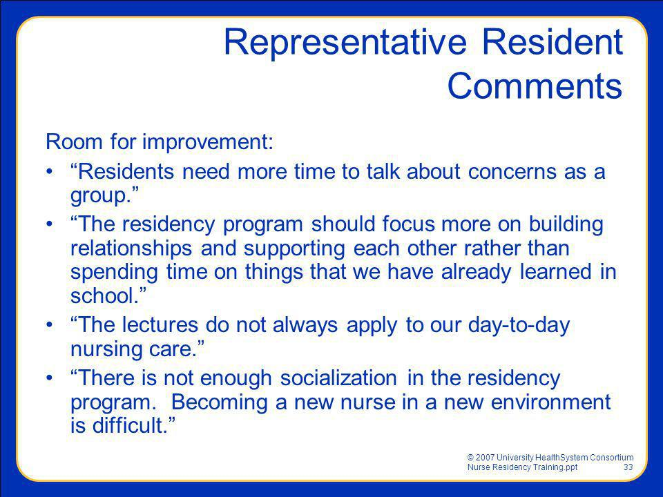 Representative Resident Comments