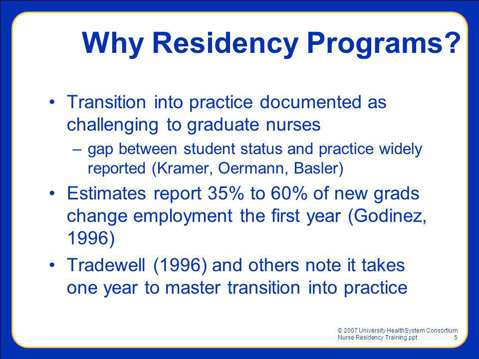 Why Residency Programs