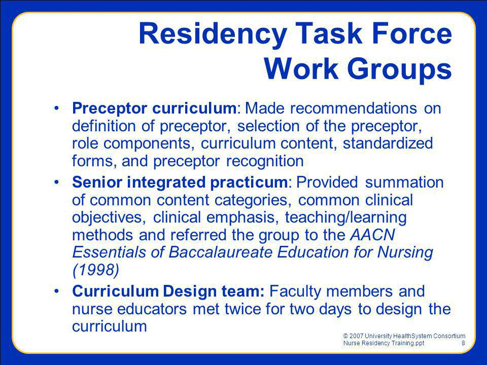 Residency Task Force Work Groups