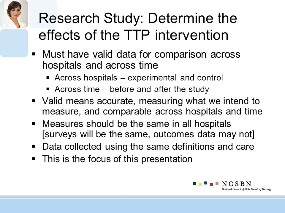 Research Study: Determine the effects of the TTP intervention