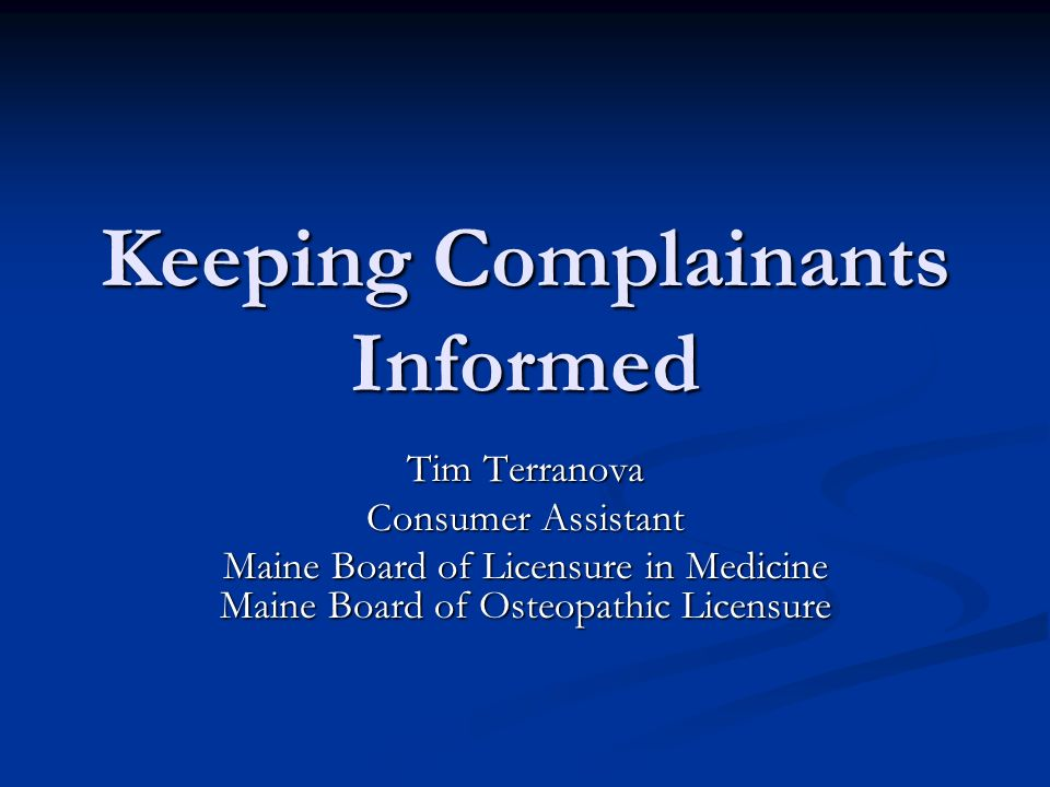 Keeping Complainants Informed