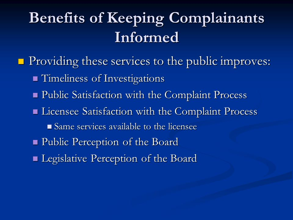 Benefits of Keeping Complainants Informed