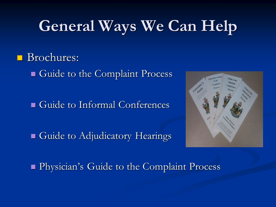 General Ways We Can Help