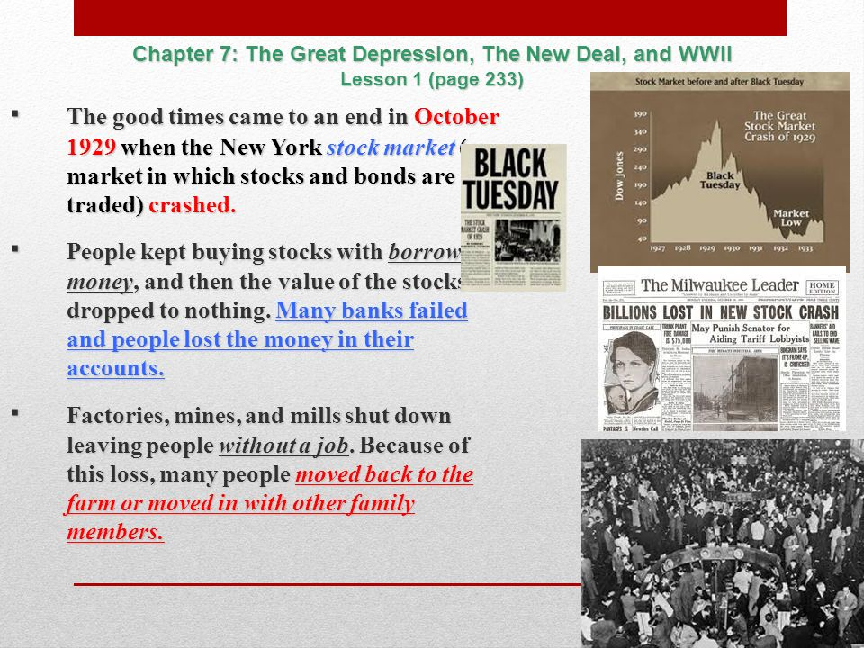 the great depression and the new Effects of the great depression how it still fdr used the money to help pay for the new deal the depression was so severe and lasted so long that many.