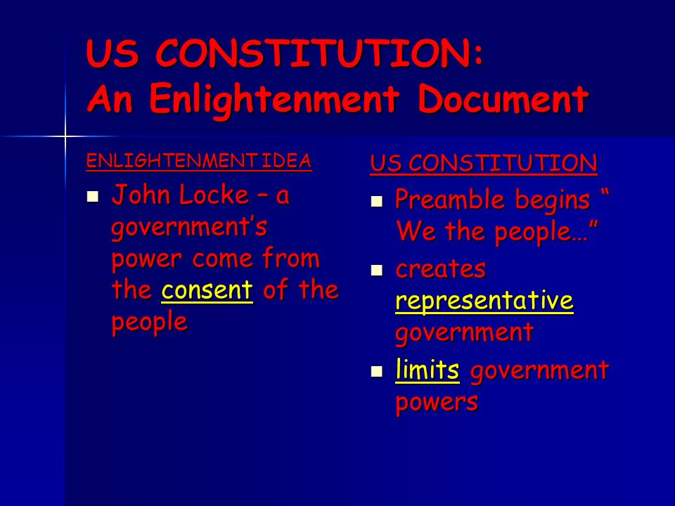 enlightenment and constitution And we'll talk about the system of government which the constitution created and  get  what were some of the ideas from the enlightenment that went into the.