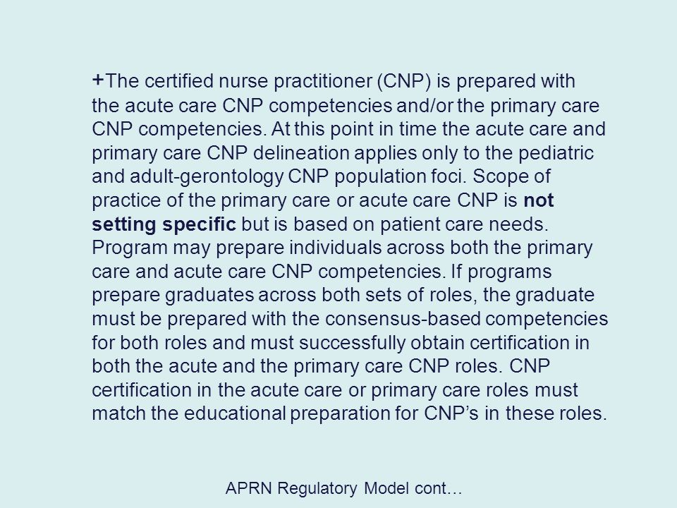 APRN Regulatory Model cont…