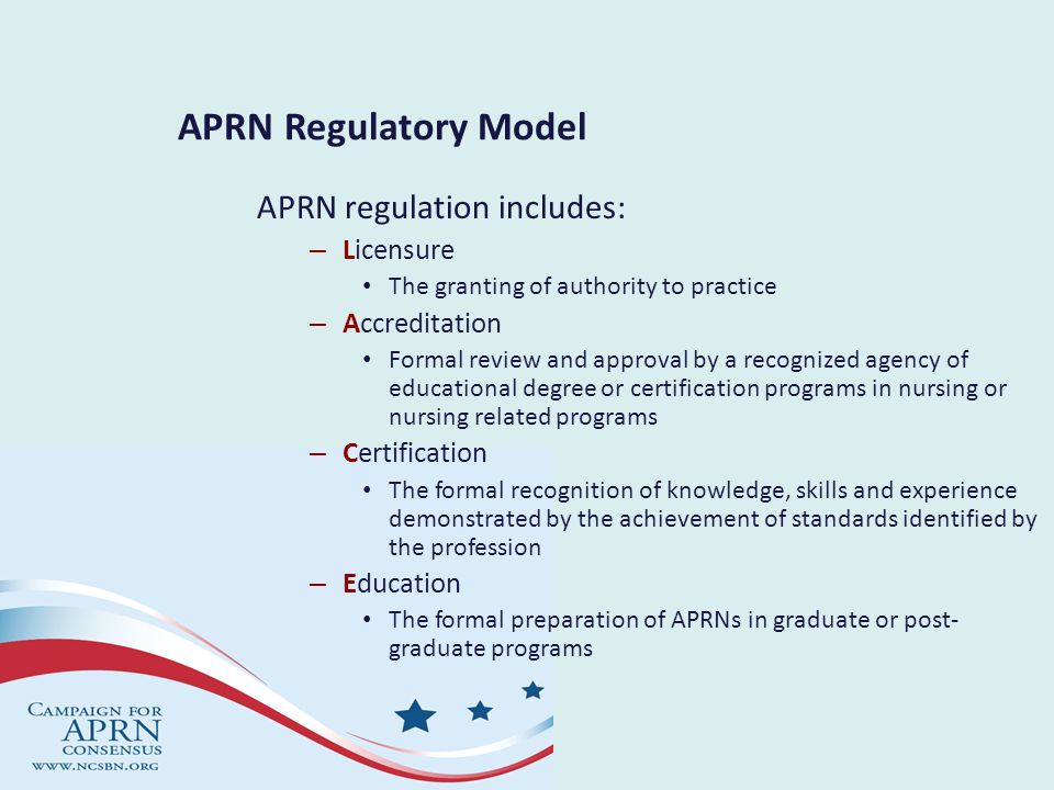 APRN Regulatory Model APRN regulation includes: Licensure