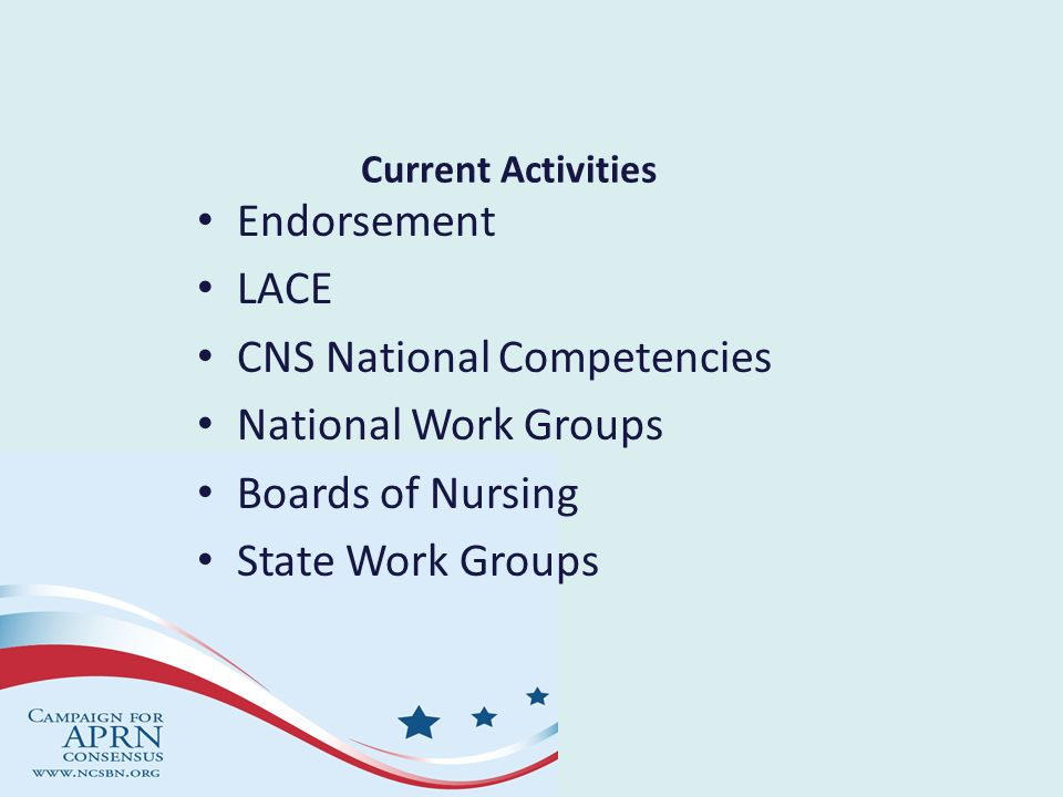 CNS National Competencies National Work Groups Boards of Nursing