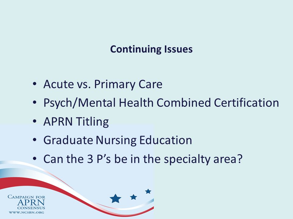 Psych/Mental Health Combined Certification APRN Titling