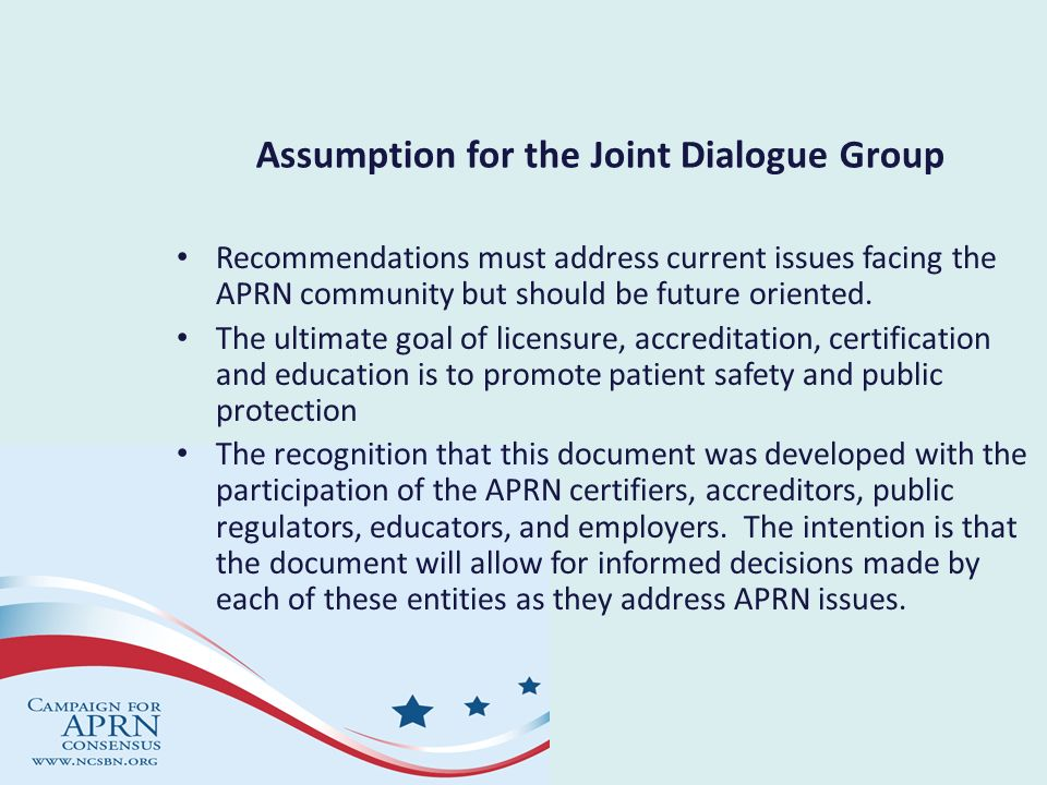 Assumption for the Joint Dialogue Group
