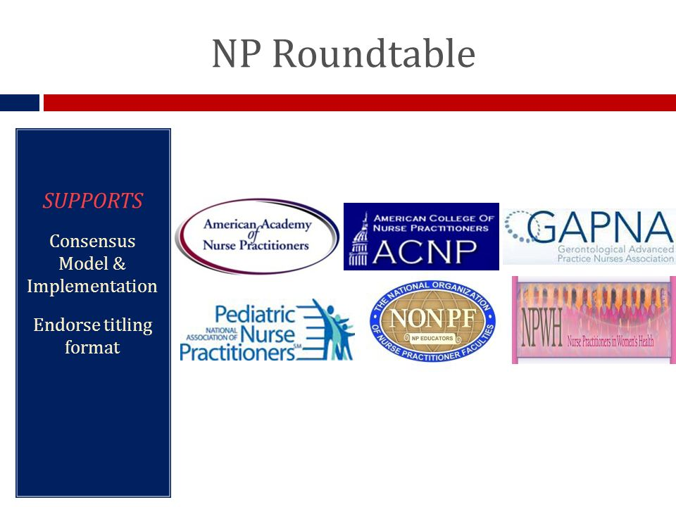NP Roundtable SUPPORTS Consensus Model & Implementation