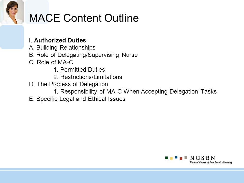 MACE Content Outline I. Authorized Duties A. Building Relationships