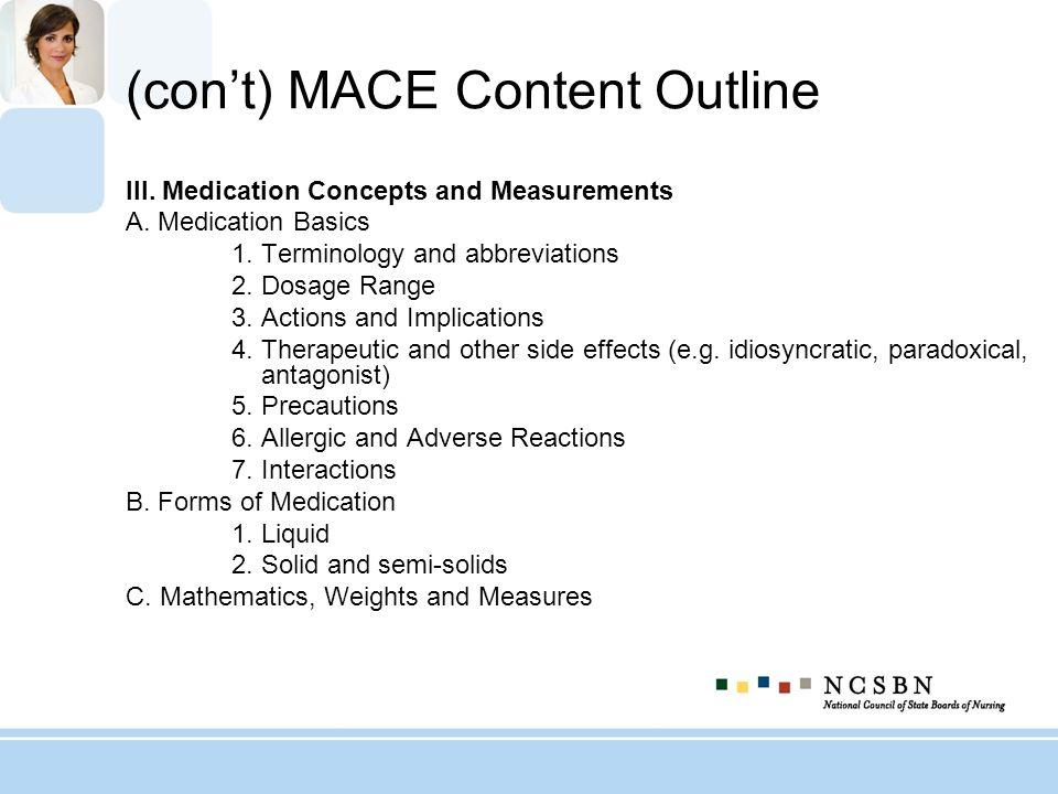 (con't) MACE Content Outline
